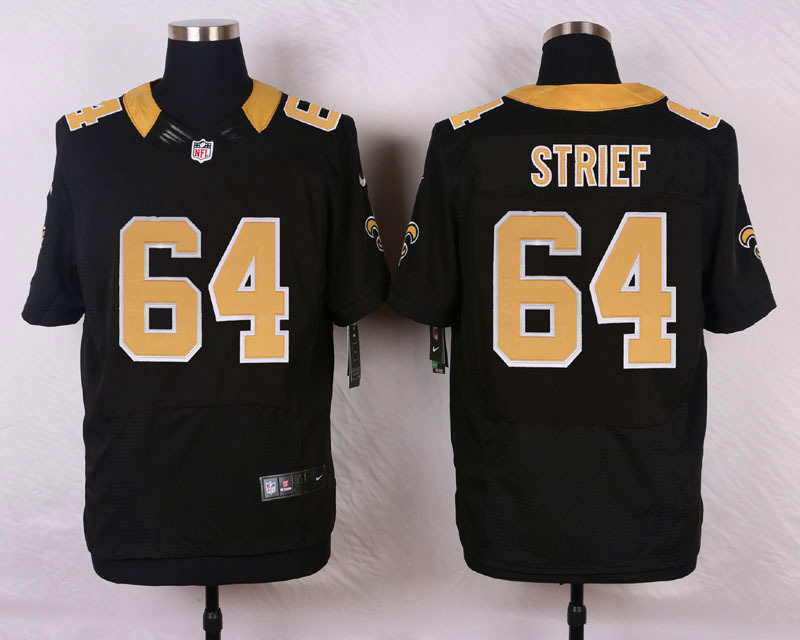 NFL Customize New Orleans Saints 64 Strief Black Men Nike Elite Jerseys