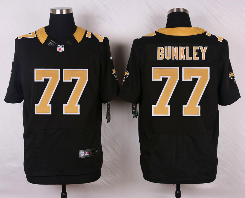 NFL Customize New Orleans Saints 77 Bunkley Black Men Nike Elite Jerseys