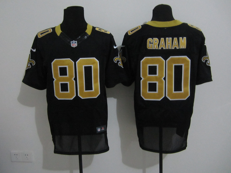 New Orleans Saints 80 Graham Black Nike Elite Jersey