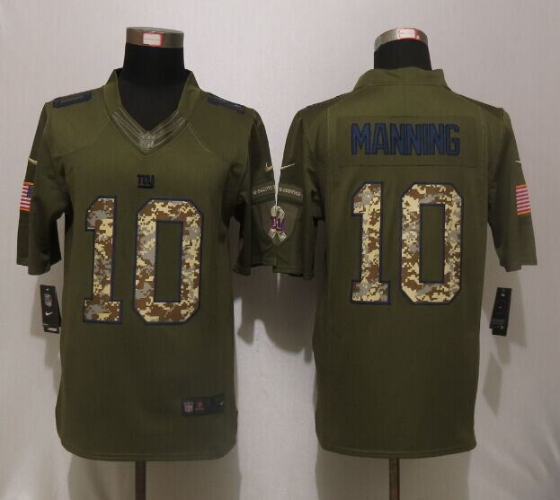 New York Giants 10 Manning Green Salute To Service Nike Limited Jersey.