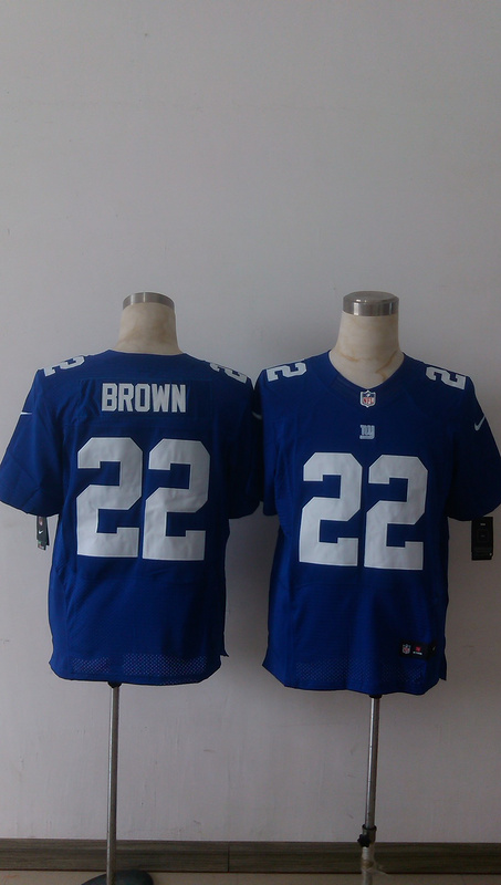 New York Giants 22 Brown Blue Men Nike Elite Jerseys