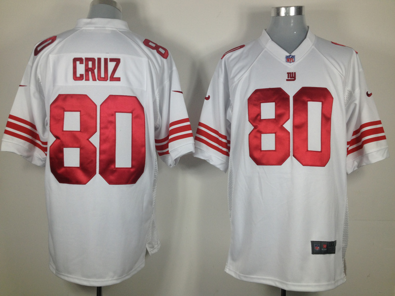 New York Giants 80 Cruz White Nike Game Jersey