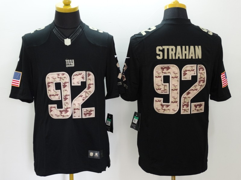 New York Giants 92 Strahan Black Salute TO Service Nike Jerseys