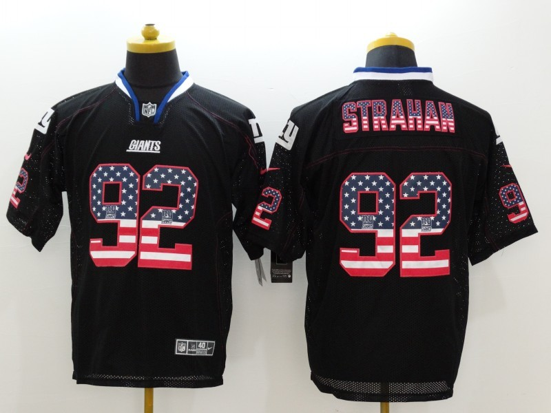 New York Giants 92 Strahan USA Flag Fashion Black Nike Elite Jerseys