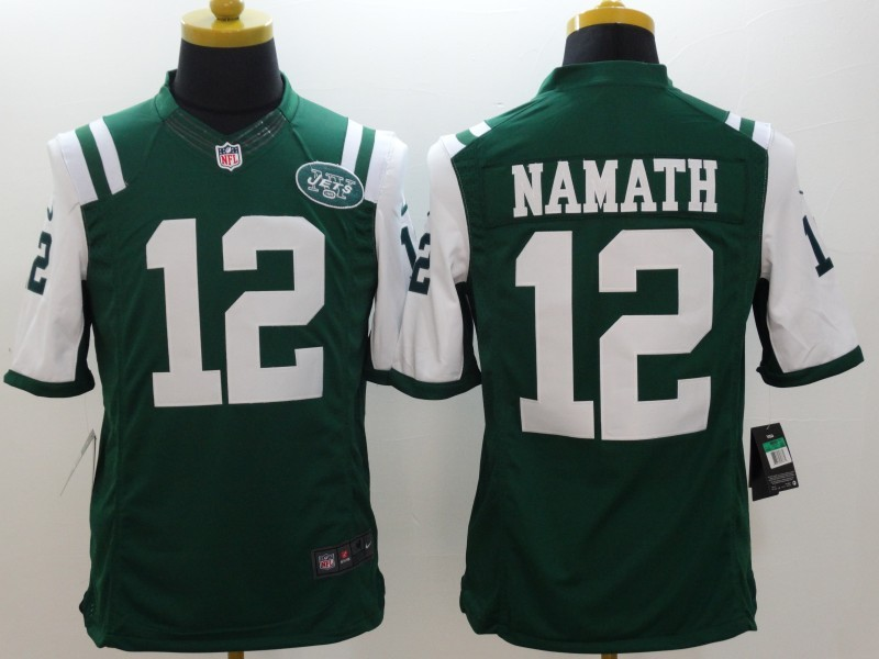 New York Jets 12 Namath Green Nike Limited Jerseys