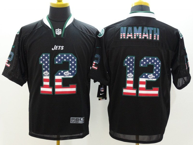 New York Jets 12 Namath USA Flag Fashion Black Nike Elite Jerseys