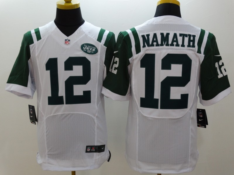 New York Jets 12 Namath White Nike Elite Jerseys