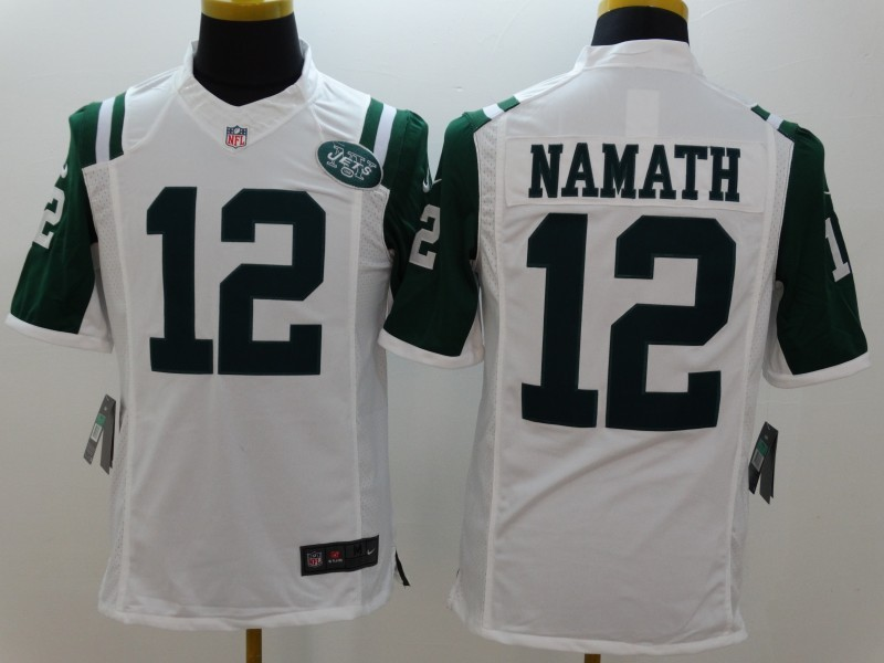 New York Jets 12 Namath White Nike Limited Jerseys