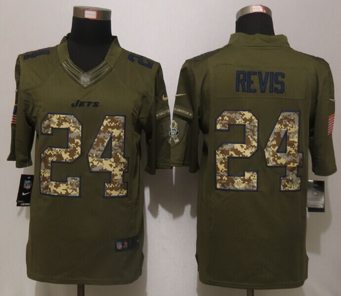 New York Jets 24 Revis Green Salute To Service Nike Limited Jersey