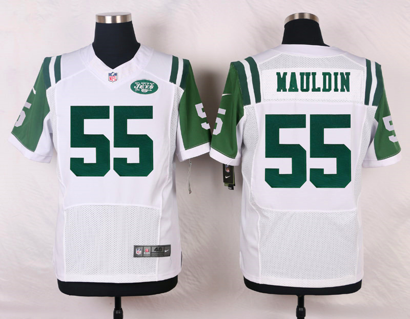 NFL Customize New York Jets 55 Mauldin White Men Nike Elite Jerseys