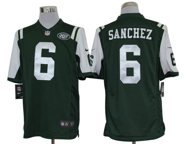 New York Jets 6 Sanchez Green Nike Limited Jerseys