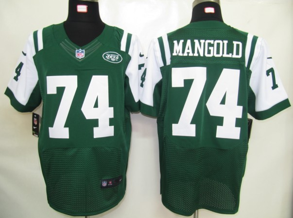 New York Jets 74 Mangold Green Nike Elite Jersey
