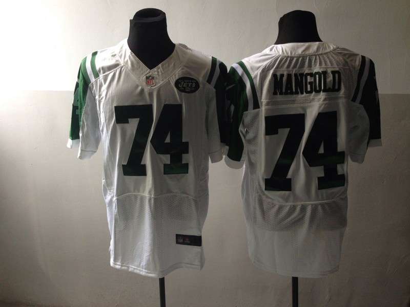 New York Jets 74 Mangold White Nike Elite Jersey