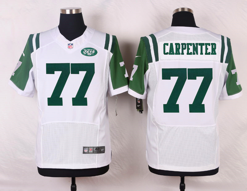 NFL Customize New York Jets 77 Carpenter White Men Nike Elite Jerseys