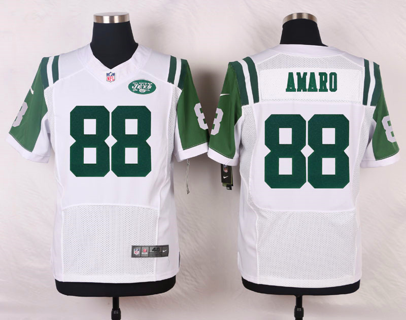 NFL Customize New York Jets 88 Amaro White Men Nike Elite Jerseys