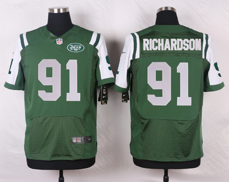NFL Customize New York Jets 91 Richardson Green Men Nike Elite Jerseys