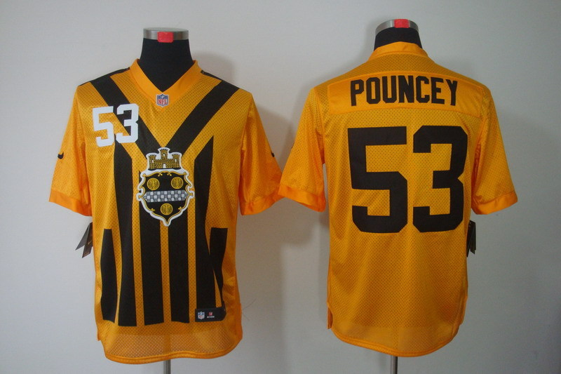 Nike NFL Pittsburgh Steelers 53 Pouncey yellow Elite 1993 jerseys