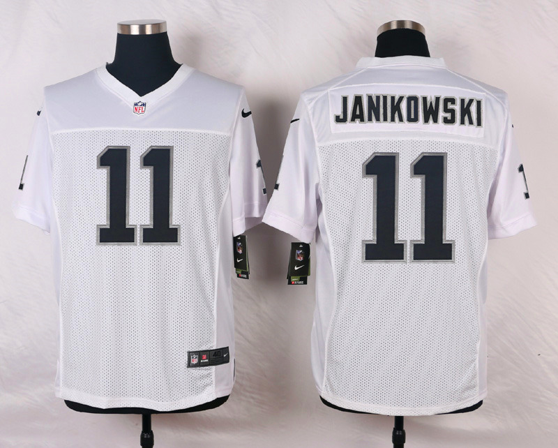 NFL Customize Oakland Raiders 11 Janikowski White Men Nike Elite Jerseys