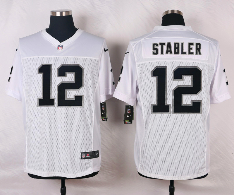 NFL Customize Oakland Raiders 12 Stabler White Men Nike Elite Jerseys