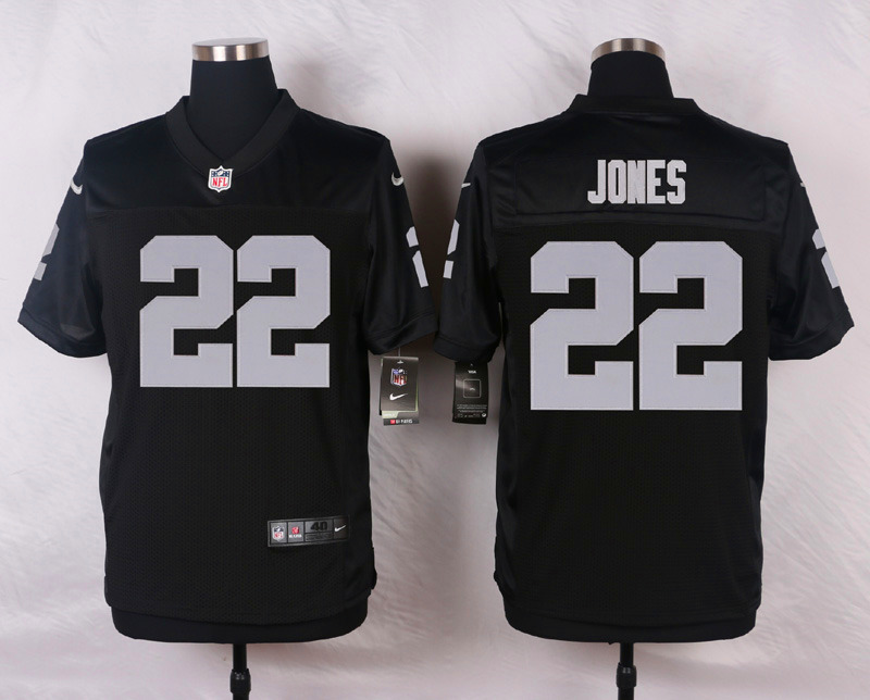 NFL Customize Oakland Raiders 22 Jones Black Men Nike Elite Jerseys