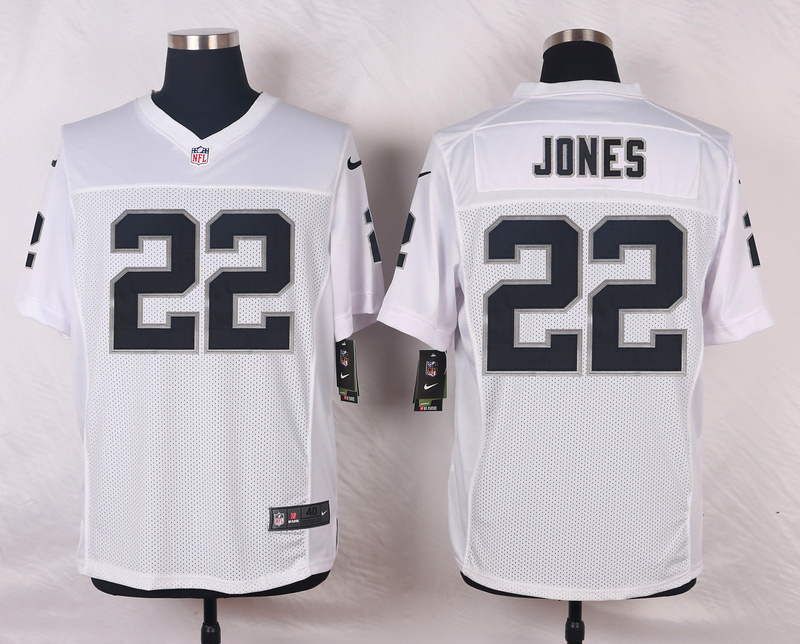 NFL Customize Oakland Raiders 22 Jones White Men Nike Elite Jerseys