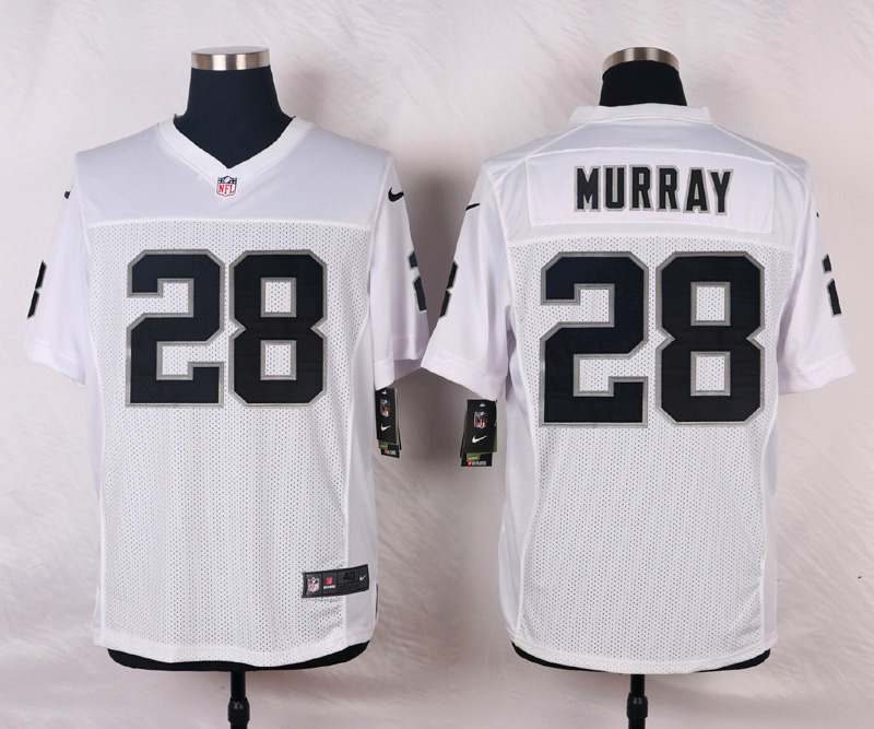 NFL Customize Oakland Raiders 28 Murray White Men Nike Elite Jerseys