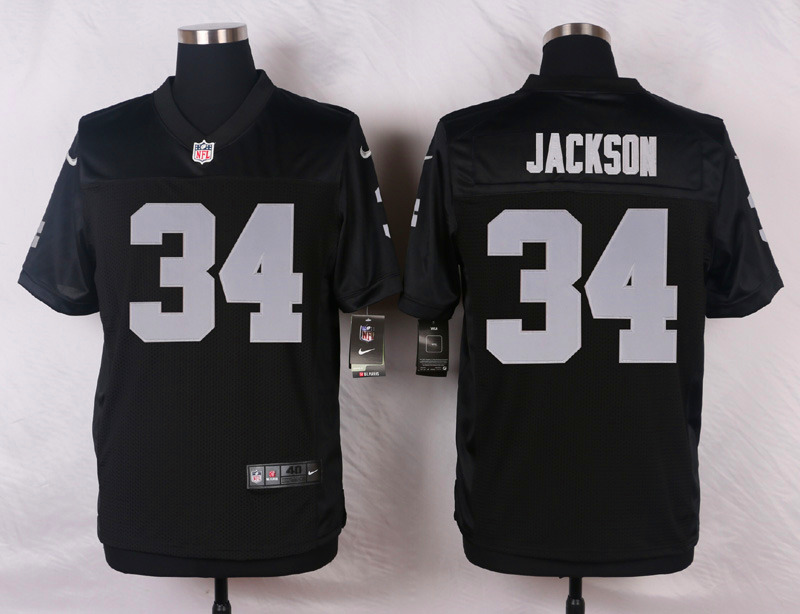 NFL Customize Oakland Raiders 34 Jackson Black Men Nike Elite Jerseys