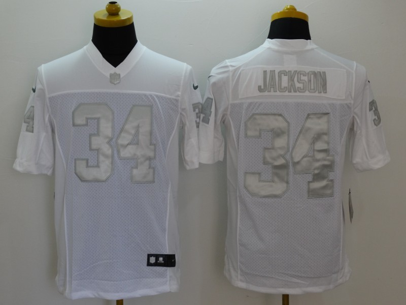 Oakland Raiders 34 Jackson Platinum White Nike Limited Jerseys