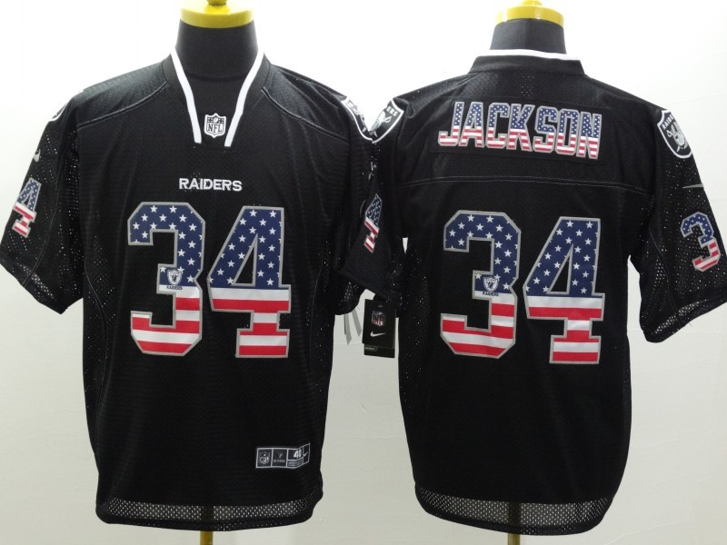 Oakland Raiders 34 Jackson USA Flag Fashion Black Nike Elite Jerseys