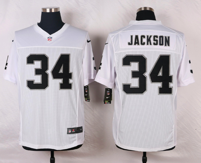 NFL Customize Oakland Raiders 34 Jackson White Men Nike Elite Jerseys