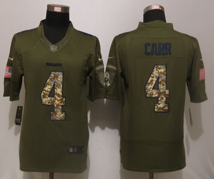 Oakland Raiders 4 Carr Green Salute To Service New Nike Limited Jersey