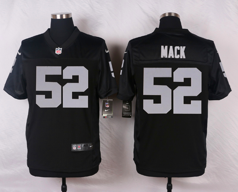 NFL Customize Oakland Raiders 52 Mack Black Men Nike Elite Jerseys