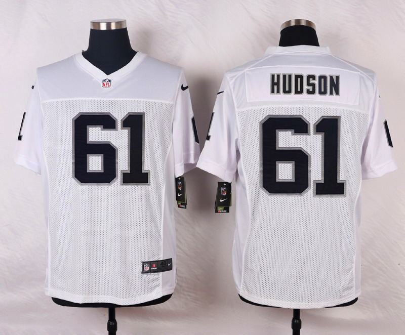 NFL Customize Oakland Raiders 61 Hudson White Men Nike Elite Jerseys