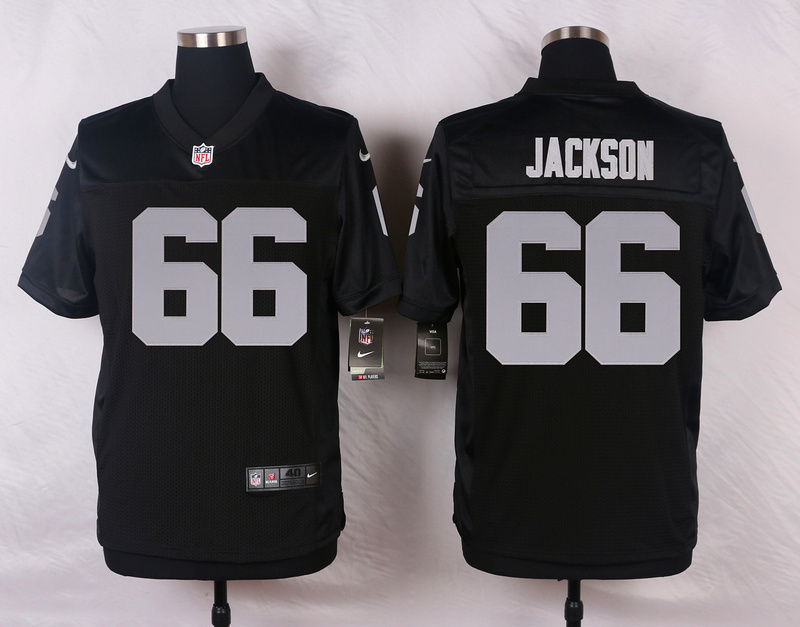 NFL Customize Oakland Raiders 66 Jackson Black Men Nike Elite Jerseys