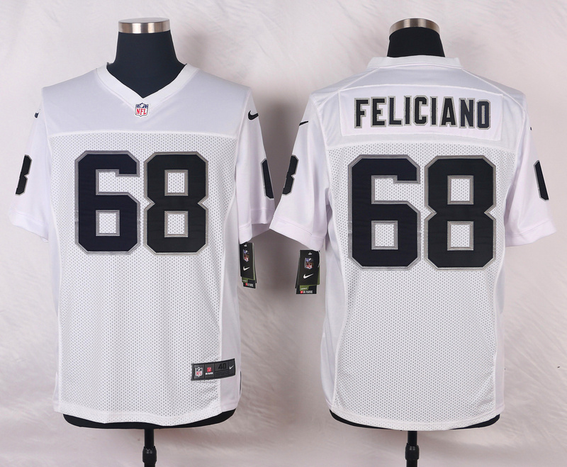 NFL Customize Oakland Raiders 68 Feliciano White Men Nike Elite Jerseys