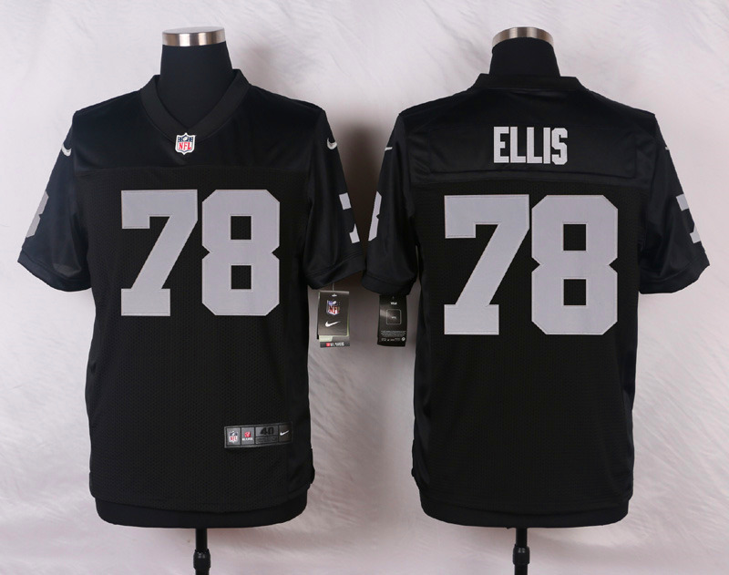 NFL Customize Oakland Raiders 78 Ellis Black Men Nike Elite Jerseys