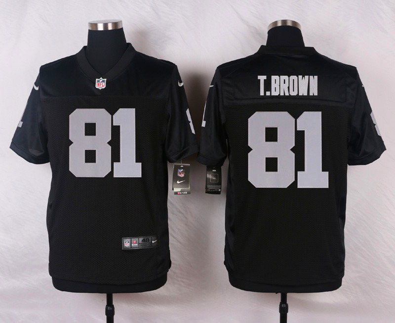 NFL Customize Oakland Raiders 81 T.Brown Black Men Nike Elite Jerseys