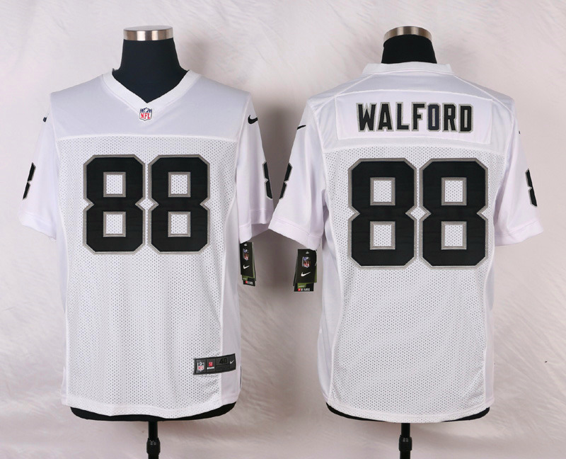NFL Customize Oakland Raiders 88 Walford White Men Nike Elite Jerseys
