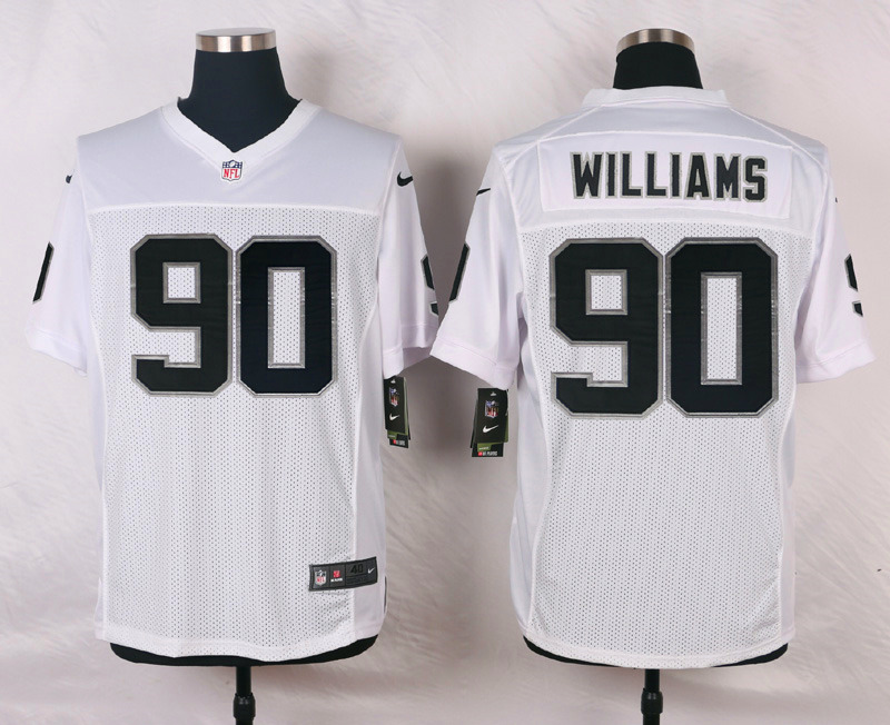 NFL Customize Oakland Raiders 90 Williams White Men Nike Elite Jerseys