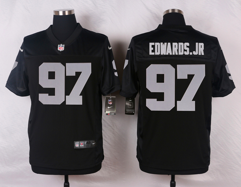 NFL Customize Oakland Raiders 97 Edwards.Jr Black Men Nike Elite Jerseys