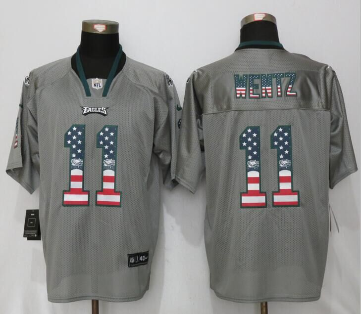 Philadelphia Eagles 11 Wentz USA Flag Fashion Gray New Nike Elite Jerseys