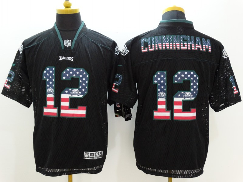 Philadelphia Eagles 12 Cunningham USA Flag Fashion Black Nike Elite Jerseys