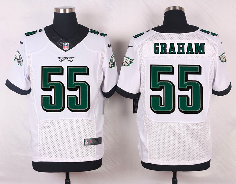 NFL Customize Philadelphia Eagles 55 Graham White Men Nike Elite Jerseys