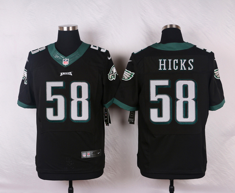 NFL Customize Philadelphia Eagles 58 Hicks Black Men Nike Elite Jerseys