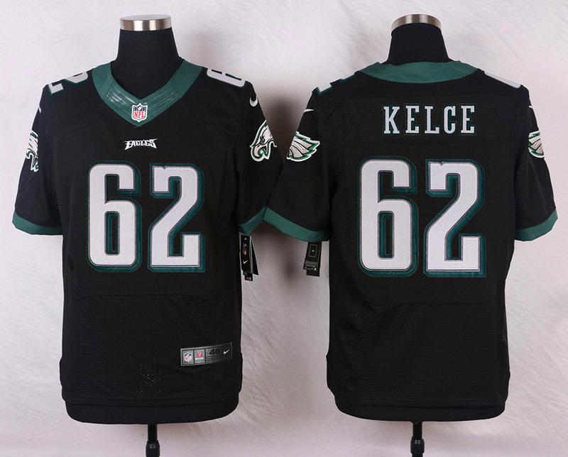 NFL Customize Philadelphia Eagles 62 Kelce Black Men Nike Elite Jerseys