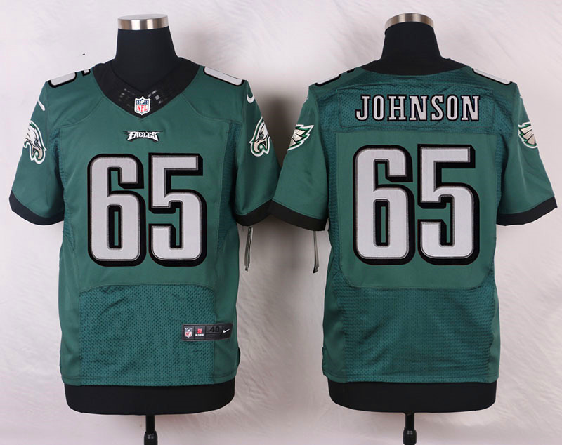 NFL Customize Philadelphia Eagles 65 Johnson Green Men Nike Elite Jerseys