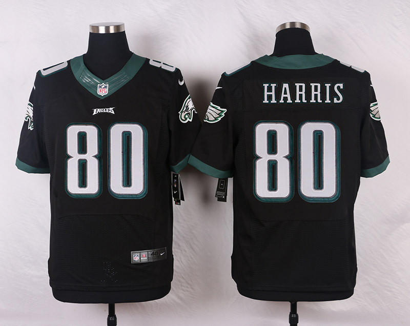 NFL Customize Philadelphia Eagles 80 Harris Black Men Nike Elite Jerseys