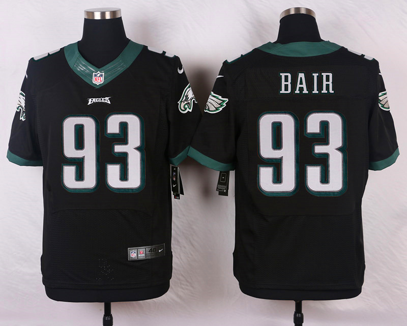 NFL Customize Philadelphia Eagles 93 Bair Black Men Nike Elite Jerseys