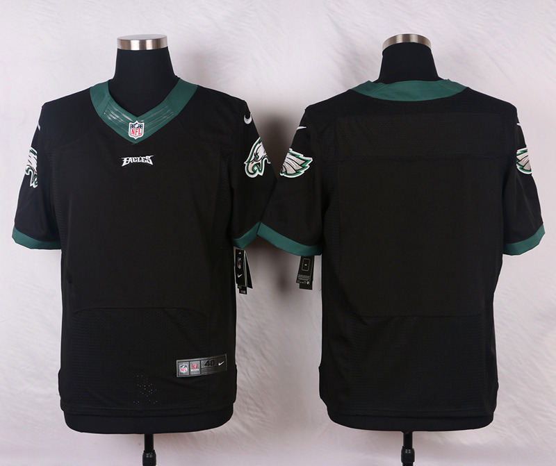 NFL Customize Philadelphia Eagles Blank Name Black Men Nike Elite Jerseys