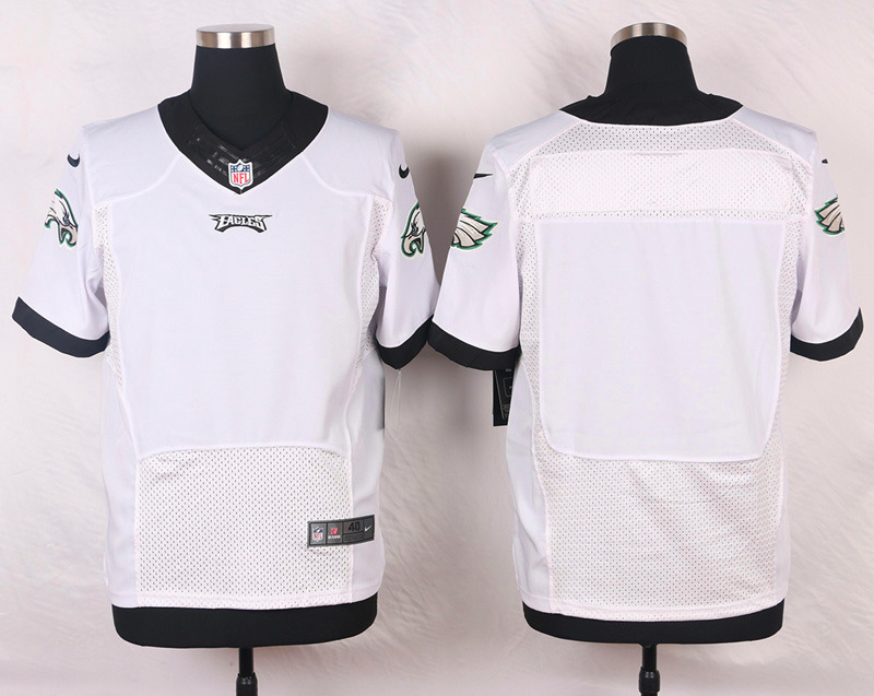 NFL Customize Philadelphia Eagles Blank Name White Men Nike Elite Jerseys